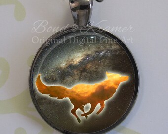 Gift Set - Cosmic Fox Spirit Animal Astronomy Pendant & Descriptive Bookmark ~ Space necklace ~ Hubble Jewelry ~ Milky Way ~ Swan Nebula