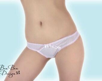Pink sheer lace thong panties lingerie underwear