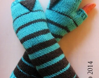 Dark Grey Cyan Fingerless Gloves, Women's Arm Warmers, Multicolor Fingerless Mittens, Wool Knit Gloves,Women's Wrist Warmers