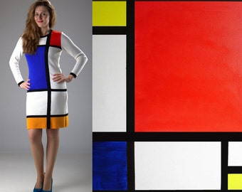 White MONDRIAN dress, color block dress, handmade, size L, XL is ready to ship, another sizes by order