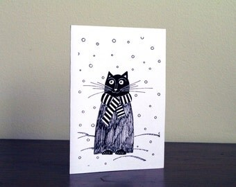 Birthday card for boyfriend Christmas card Cat Christmas cards for boyfriend Greeting cards Christmas birthday card Boyfriend Holiday card