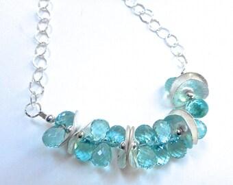 Aqua Briolette necklace, Crystal Quartz Necklace, Quartz necklace,Aqua Crystal necklace, Briolette necklace, Crystal necklace, free shipping