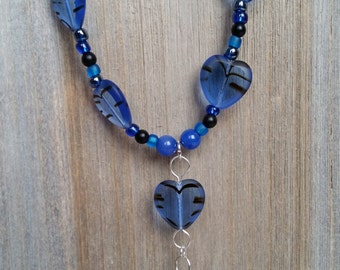 Onyx & Czech Glass Necklace in Black and Blue