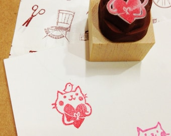 gift cat rubber stamp.cat hand carved rubber stamp.cat stamp