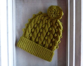 Cable & Bobble Knit Hat with Pom Pom in Olive Green
