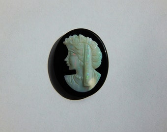 Unset Genuine Opal & Black Onyx Cameo for Jewelry Making
