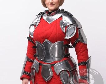 """Larp, Female Armor ,Fantasy, Elf, Elven Costume """"Flamberg"""" steel  armor for women: corset"""