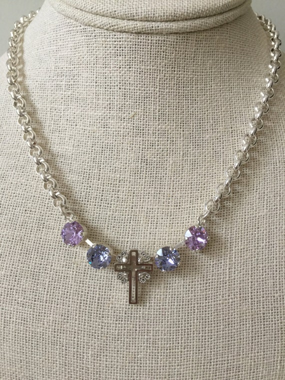 Filigree Cross Necklace with Violet & Provence Lavender Crystals
