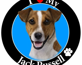 I Love My Jack Russell Car Magnet With Realistic Looking Jack Russell Photograph In The Center