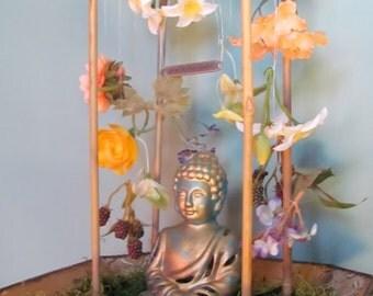 Floral Waterfall- Buddha Meditation Shrine, Yoga, Altar, Namaste, Mindfulness,