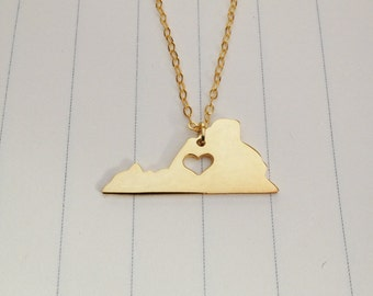 Personalized VA State Necklace,Gold Virginia State Necklace,Virginia State Charm Necklace,State Shaped Necklace  With A Heart