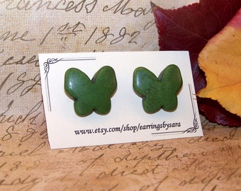 Butterfly Stud Earrings - Green