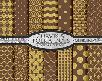 Brown Digital Paper: Brown and Gold Digital Paper - Gold and Brown Digital Paper, Coffee Brown Paper, Gold and Brown Wedding Paper Download