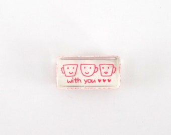 kawaii coffe or teacup stamp - cute teacup emoticon faces - coffe mug emoticon faces - smile face stamp - with you hearts