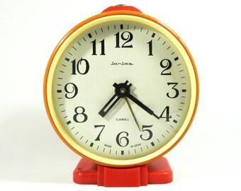 Alarm Clock Jantar Vintage Soviet Mechanical Alarm Clock USSR Desk Clock Vintage Russian Vintage Soviet Union Clock Antique Clock 70s