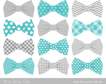 Bow Ties Clipart, Bowtie Clip art, Aqua Blue, Grey, only FOR PERSONAL USE