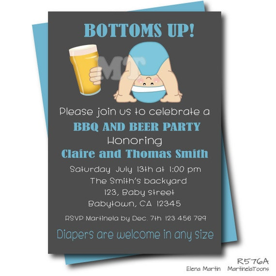 BBQ Beer And Baby Shower Invitation- Chalkboard Beer And Babies Invite- Baby Boy Printable