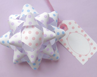 Polka Dot Bows & Tags in Lavender, Light Blue and Rose - DIY, Instant Download, Gift Wrap, Digital Print, Cut Out Craft, Craft Kit
