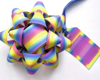 Rainbow Bows & Tags - DIY, Instant Download, Gift Wrap, Digital Print, Cut Out Craft, Craft Kit