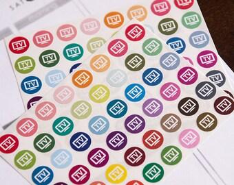 48 TV reminder stickers, TV shows stickers, planner stickers, reminder television tv stickers, eclp filofax happy planner kikkik netflix