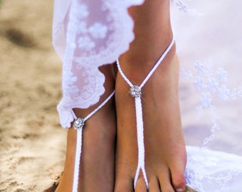 Beach wedding barefoot sandals, Crochet white and Rhinestone barefoot sandal, Crystal barefoot sandles, Foot accessory, Bridal shoes, Sandle