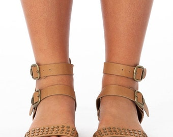 Tan Leather Sandals With Bronze Stud Detail