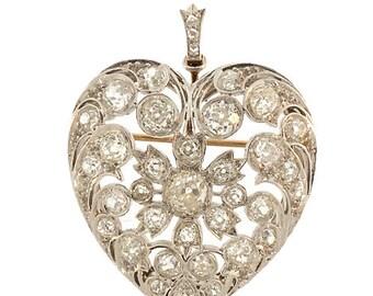 Edwardian Platinum and Diamond Puffed Heart Pendant & Brooch