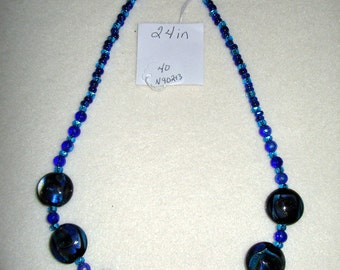 24 inch Beaded Necklace in All the Colors of the Sea.