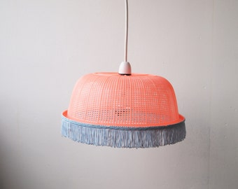 Peach Lampshade with Powder Blue Fringing <3