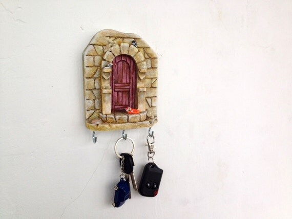 Wall Key Holder Miniature Ceramic Pottery House Castle White