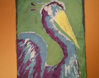 Abstract stylized Heron Painting, Handmade Batik Wall Hanging Painting, Unique gift- beach decor- cabin decor