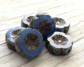 Czech glass Hawaiian flower beads  blue picasso 15mm pack of 6