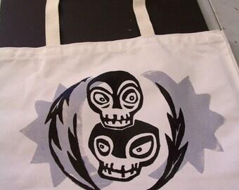 Tiki Love Skulls shoulder bag silkscreen silver and black on white eco friendly shopping bag