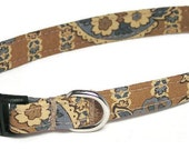 XS Dog Collar - French Beige Vintage Floral - Extra Small, Teacup, Miniature - Fancy, Soft and Handmade