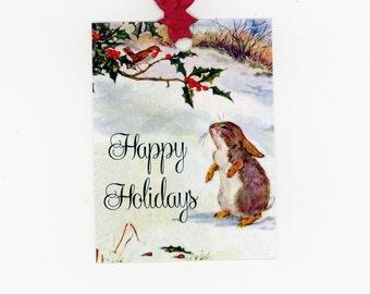 Holiday Tags , Christmas Gift Tags , Happy Holidays , Christmas Rabbit Tags , Bird , Holly , Woodland Christmas