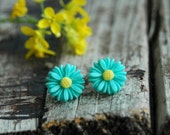Teal Earrings . Flower Stud Earrings . Unique Bridesmaid Gifts . Bridesmaid Gift Ideas . Gifts for Women . Best Friend Gift . Birthday Gift