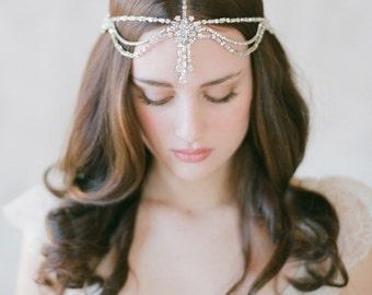Bridal boho, rhinestone head piece - Rhinestone boho headdress - Style 503 - Ready to Ship