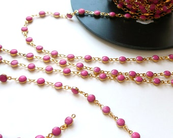 1 Meter Gold Plated and Pink Enamel 4mm Beaded Link Chain