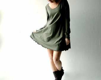 Tunic dress, Sweater dress, Green dress, Cotton dress, maternity dress, Long sleeve dress, Boho dress, Plus size clothing, Women clothes