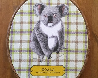 8x10 Oval Animal Kingdom Koala Bear Ready to Hang Fabric Artwork