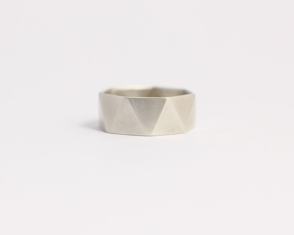 Geometric ring wedding band engagement ring matte white for Geometric wedding ring