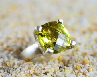 Gorgeous Bold Faceted Checkerboard Lemon Quartz and Sterling Silver Ring