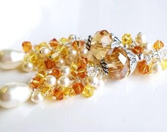 Topaz Crystal Earrings, Gold Topaz Amber Colored Earrings, Long Pearl Earrings, Yellow Crystal Earrings, Statement Earrings, Vintage Wedding