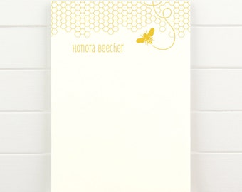 HONEY Personalized Notepad - Modern Bee Honeycomb Letterhead