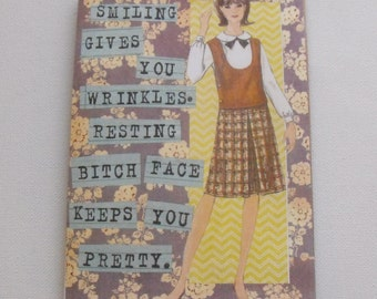 Friendship Humor Vintage Card Collage Art Card Handmade Hand stamped Blank Inside