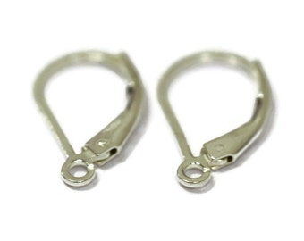 Silver Leverback Hooks, Sterling Silver Filled Earwires, Lever back Earrings, By The Pair, Jewelry Supplies, Earring Findings (F 278esf)