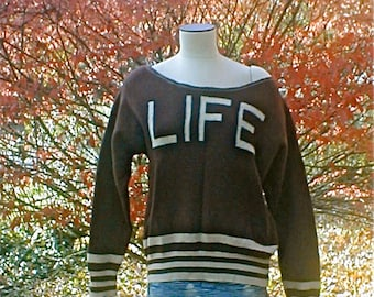LIFE Sweater - Vintage 80s Brown Wool - Slouch Cut - Off Shoulder Neckline - Punk Warm Wool Outerwear Outdoor Gear