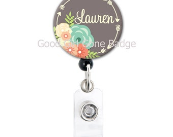 Retractable ID Badge Holder - Personalized Name - Flowers and Arrows - Choice of Colors - Badge Reel