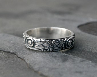 Flower Spiral Sterling Silver Ring Band, Etched Patterned Stacking Ring, Floral Swirl Pattern, Wedding, Engagement, Promise