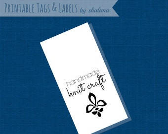 PDF Printable Hang Tags or Product Labels for Handmade Knits for Crafts Shows or Gifts - cute tags to print on your choice of paper